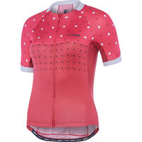 Madison Sportive Apex women's short sleeve jersey, raspberry/rio red hex dots