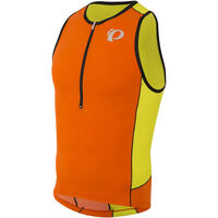 Pearl Izumi Men's, Elite Pursuit Tri Singlet, Red Orange/Lime Punch